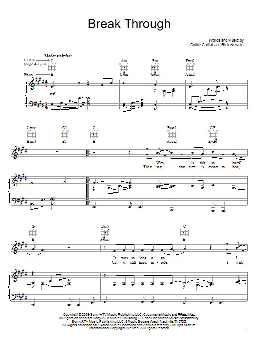 Colbie Caillat Break Through sheet music notes and chords. Download Printable PDF.