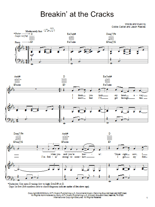 Colbie Caillat Breakin' At The Cracks sheet music notes and chords. Download Printable PDF.
