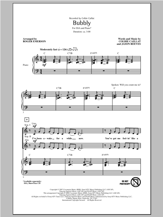 Colbie Caillat Bubbly (arr. Roger Emerson) sheet music notes and chords. Download Printable PDF.