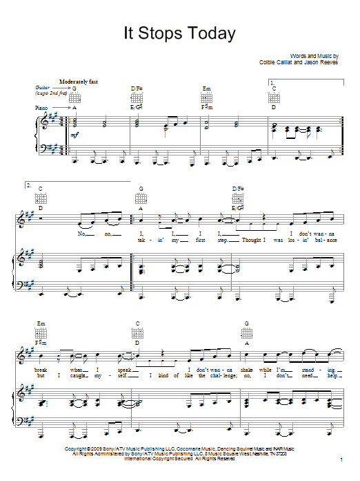 Colbie Caillat It Stops Today sheet music notes and chords. Download Printable PDF.