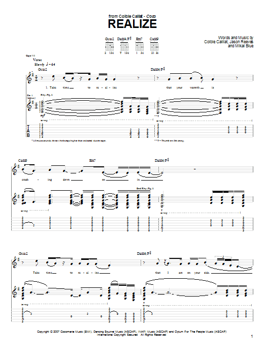 """Colbie Caillat """"Realize"""" Sheet Music PDF Notes, Chords 
