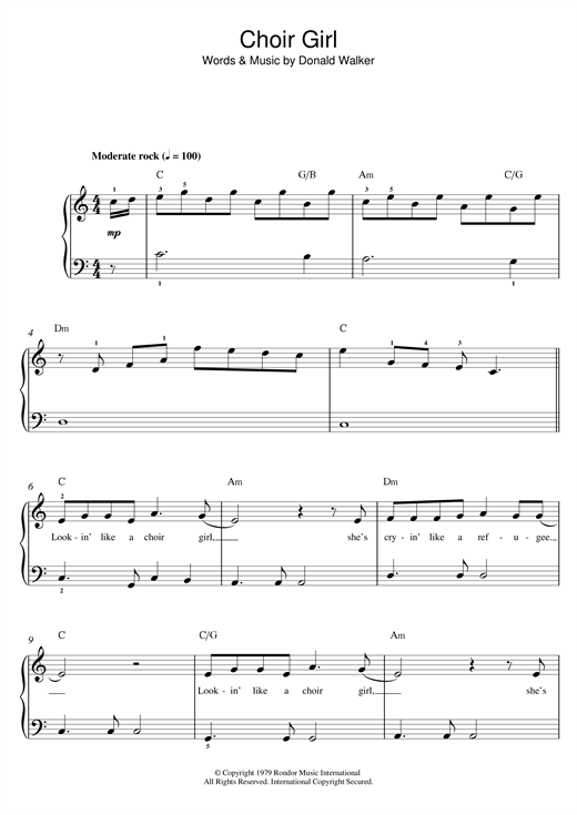 Cold Chisel Choir Girl sheet music notes and chords. Download Printable PDF.