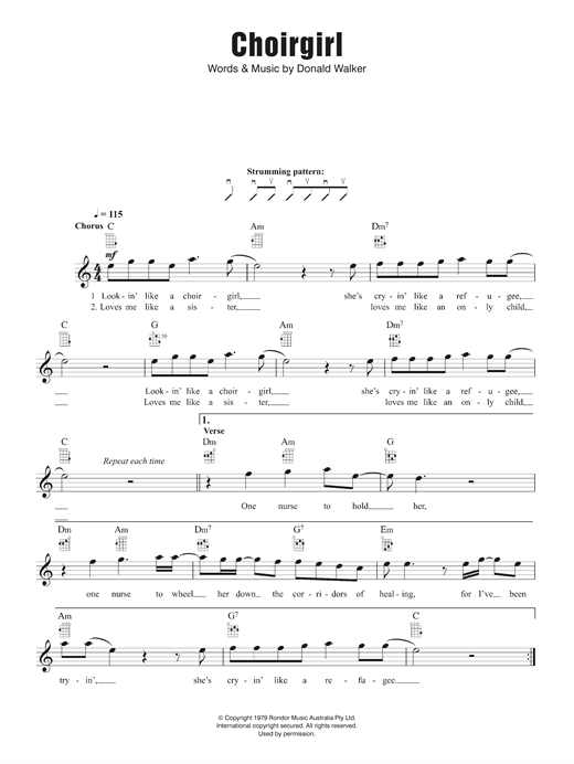 Cold Chisel Choirgirl sheet music notes and chords. Download Printable PDF.