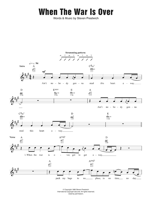 Cold Chisel When The War Is Over sheet music notes and chords. Download Printable PDF.