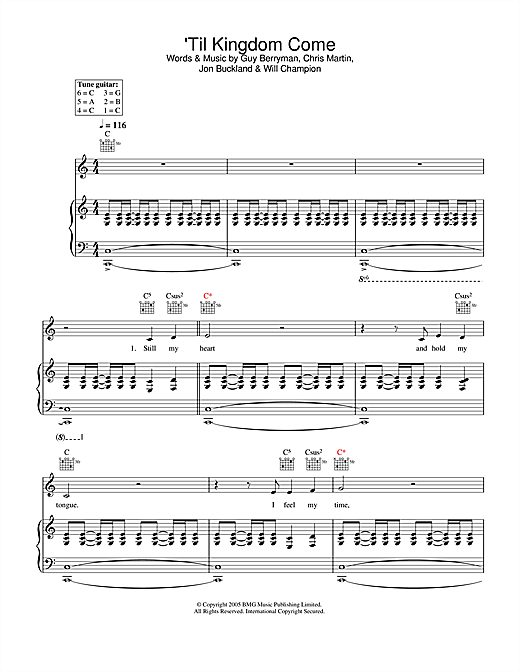Coldplay 'Til Kingdom Come sheet music notes and chords. Download Printable PDF.