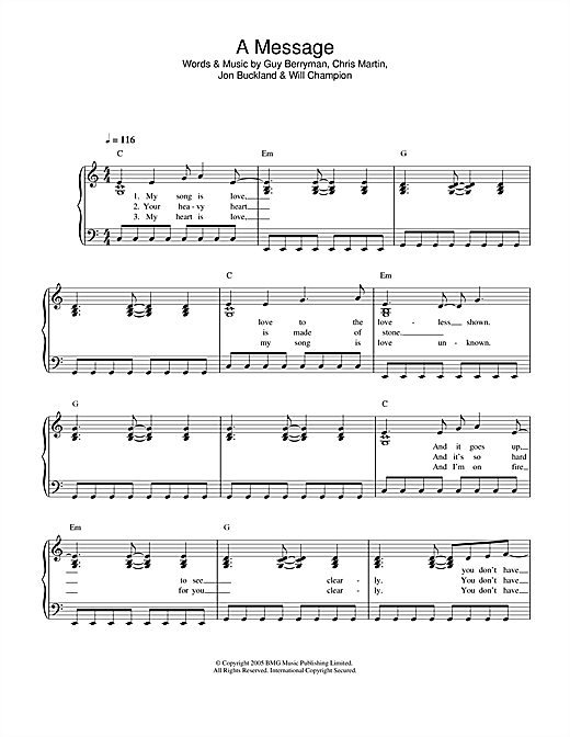 Coldplay A Message sheet music notes and chords. Download Printable PDF.