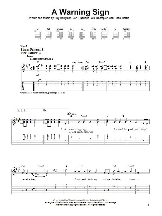 Coldplay A Warning Sign sheet music notes and chords. Download Printable PDF.