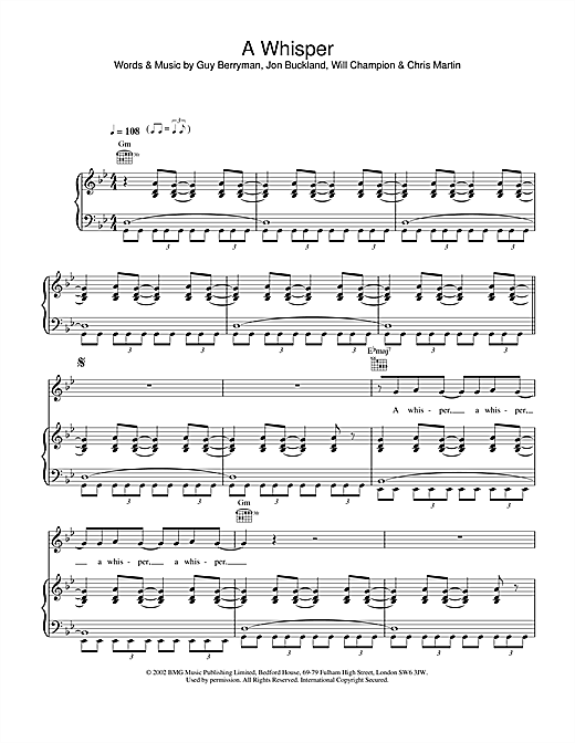 Coldplay A Whisper sheet music notes and chords. Download Printable PDF.