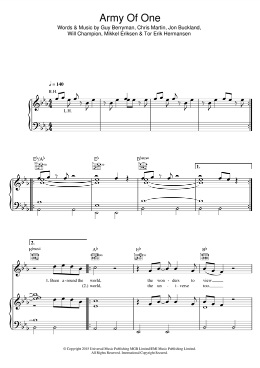 Coldplay Army Of One sheet music notes and chords. Download Printable PDF.