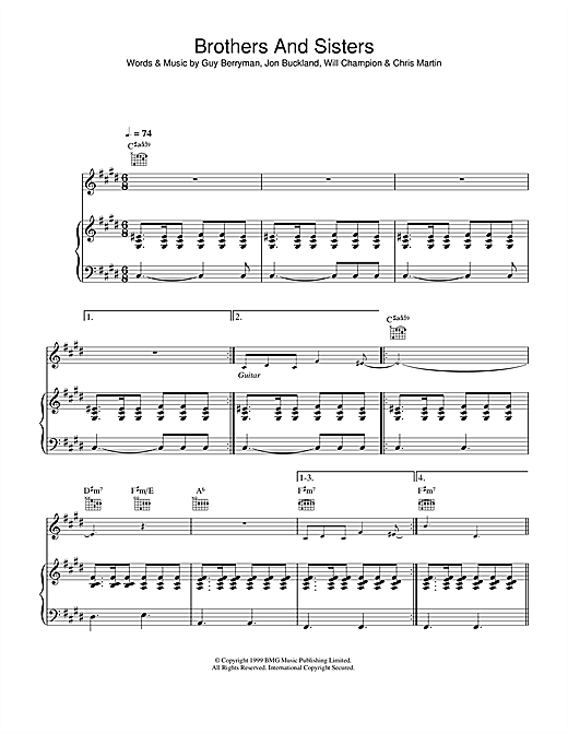 Coldplay Brothers And Sisters sheet music notes and chords. Download Printable PDF.