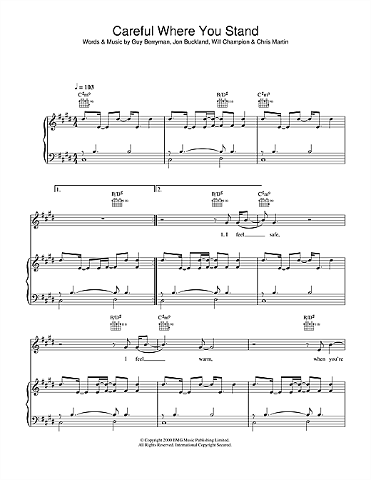 Coldplay Careful Where You Stand sheet music notes and chords. Download Printable PDF.