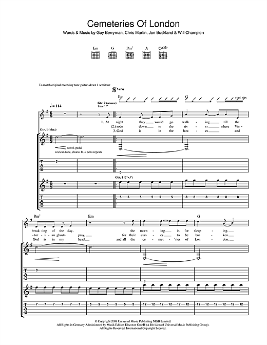 Coldplay Cemeteries Of London sheet music notes and chords