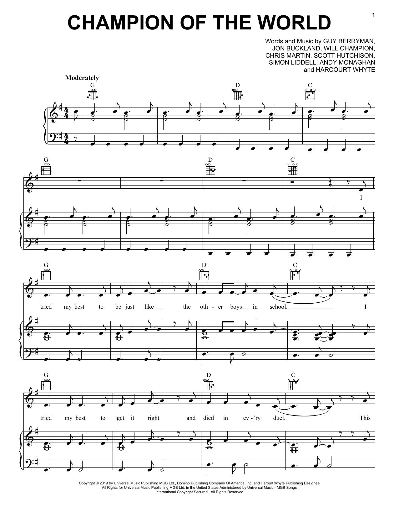 Coldplay Champion Of The World sheet music notes and chords