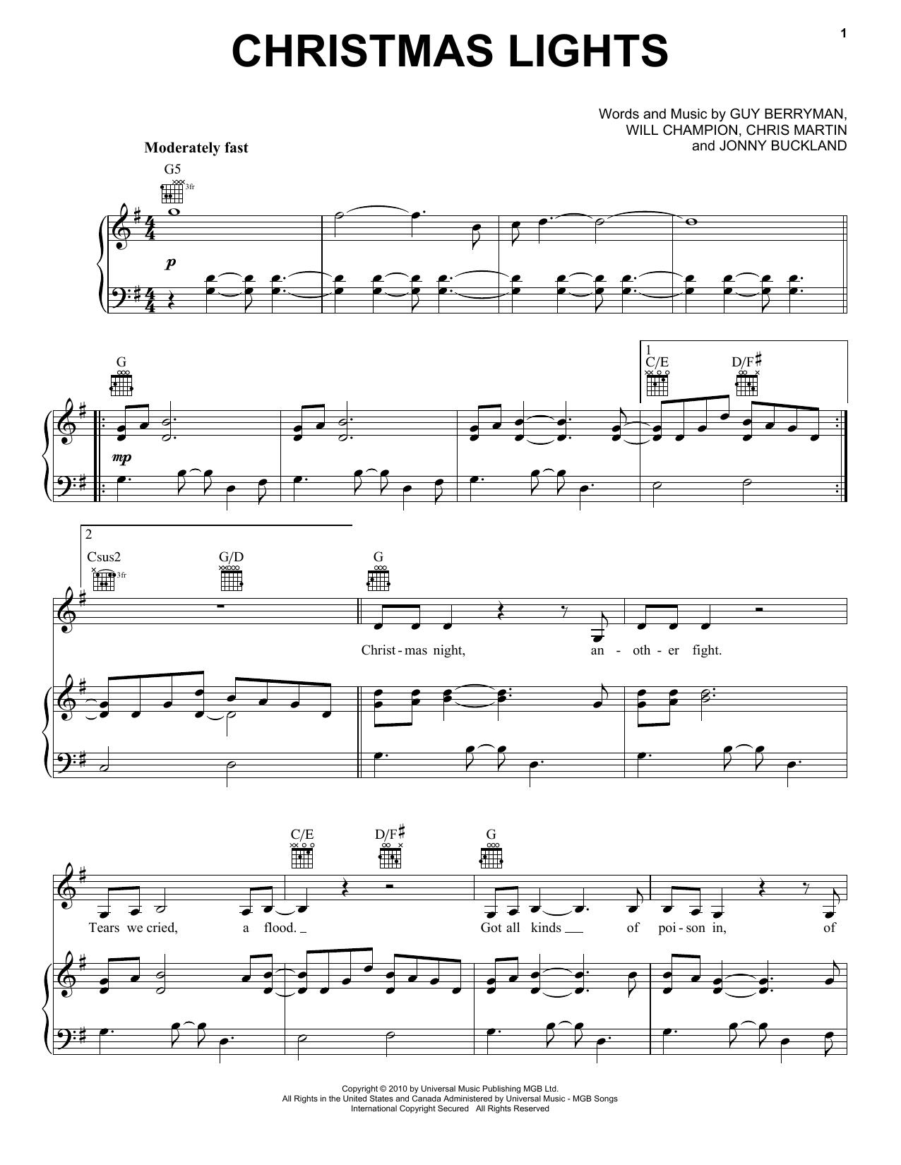 Coldplay Christmas Lights Sheet Music Pdf Notes Chords Christmas Score Piano Chords Lyrics Download Printable Sku 110496