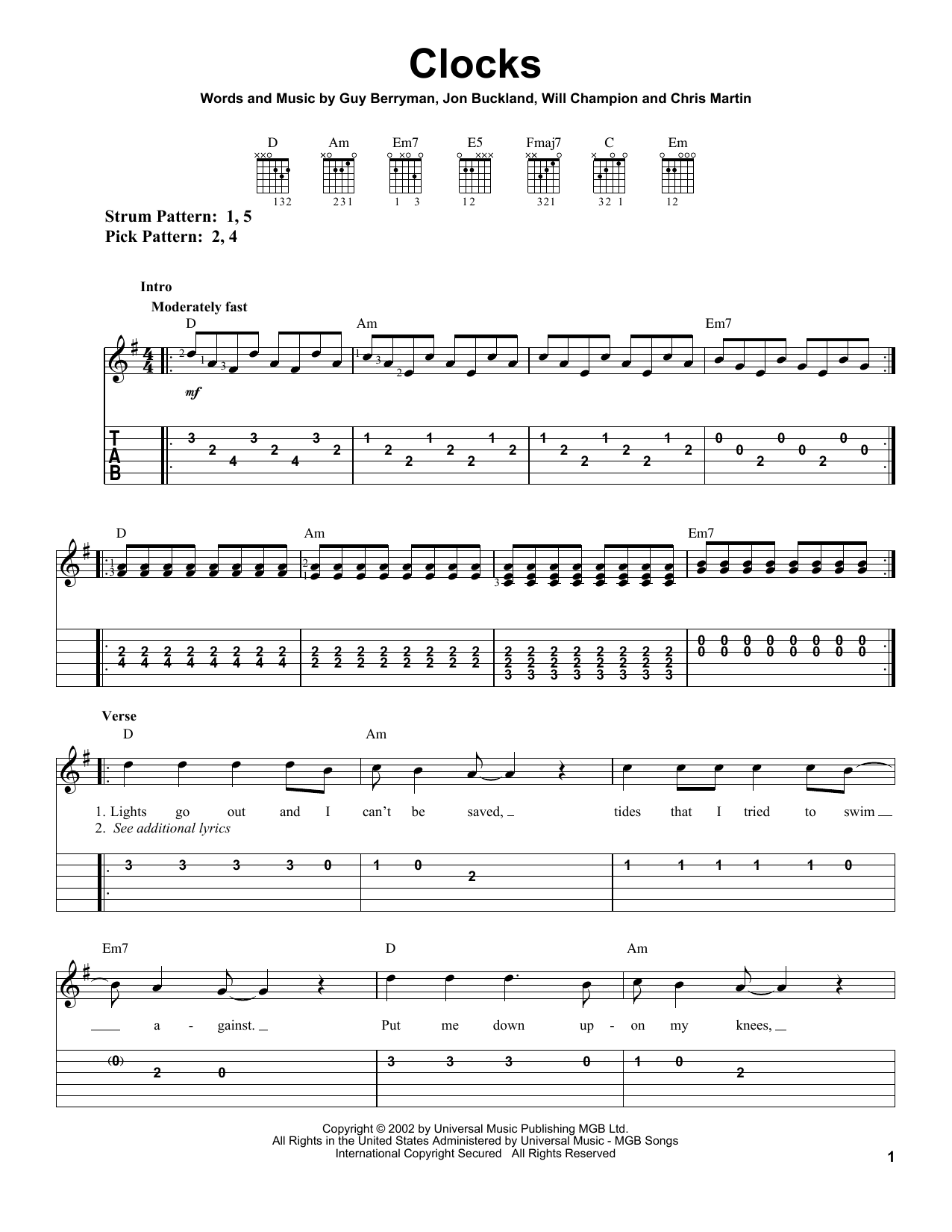 Coldplay Clocks sheet music notes and chords. Download Printable PDF.