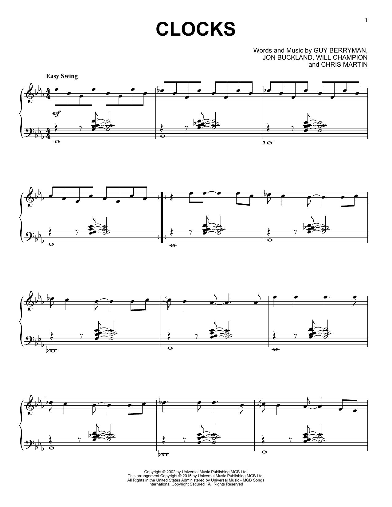 Coldplay Clocks [Jazz version] sheet music notes and chords