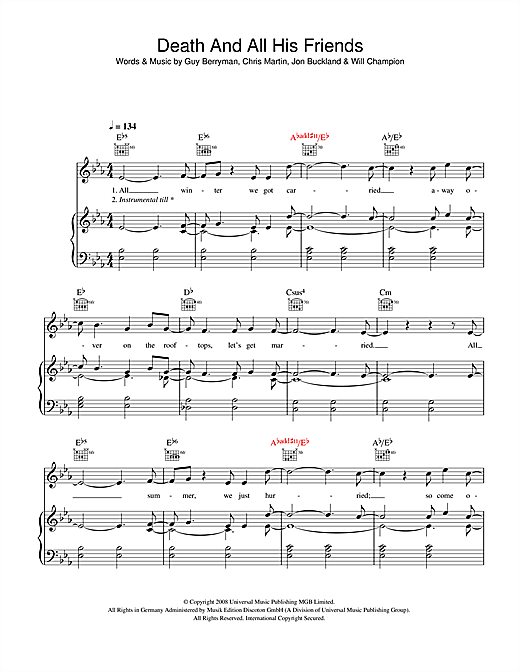 Coldplay Death And All His Friends sheet music notes and chords