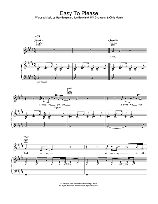 Coldplay Easy To Please sheet music notes and chords