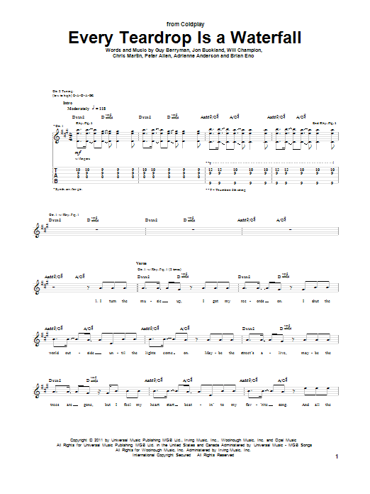 Coldplay Every Teardrop Is A Waterfall sheet music notes and chords. Download Printable PDF.