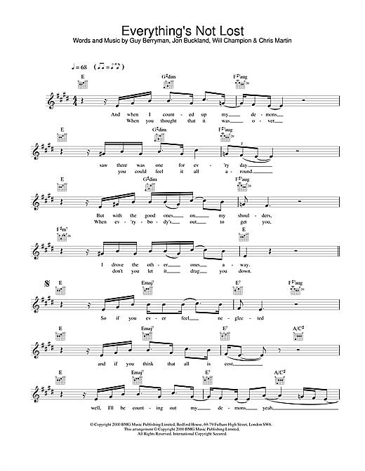 Coldplay Everything's Not Lost sheet music notes and chords. Download Printable PDF.