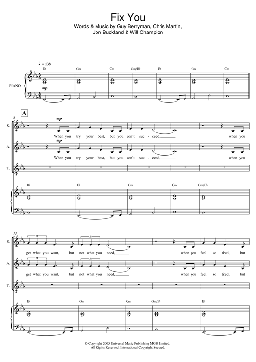 Coldplay Fix You (arr. Mark De-Lisser) sheet music notes and chords