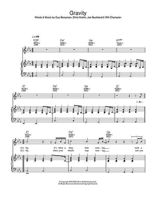 Coldplay Gravity sheet music notes and chords. Download Printable PDF.