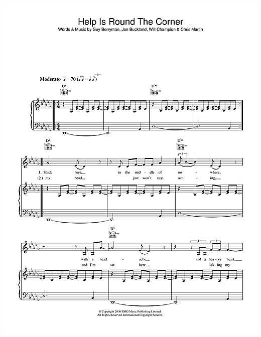 Coldplay Help Is Round The Corner sheet music notes and chords. Download Printable PDF.