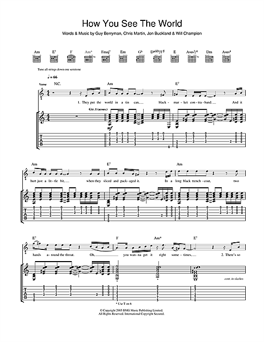 Coldplay How You See The World sheet music notes and chords. Download Printable PDF.