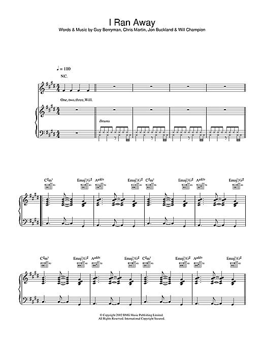 Coldplay I Ran Away sheet music notes and chords. Download Printable PDF.