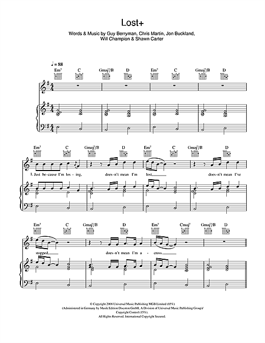 Coldplay Lost+ (feat. Jay-Z) sheet music notes and chords. Download Printable PDF.