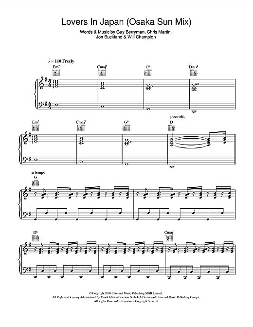 Coldplay Lovers In Japan (Osaka Sun Mix) sheet music notes and chords. Download Printable PDF.