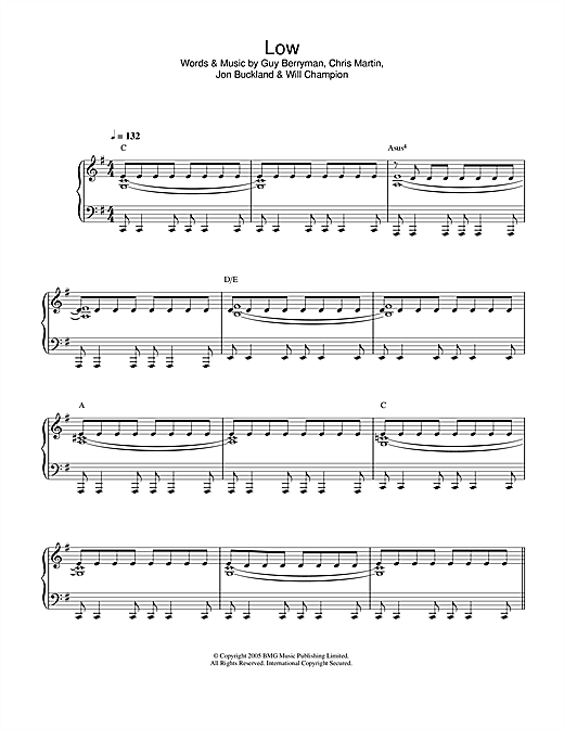 Coldplay Low sheet music notes and chords. Download Printable PDF.