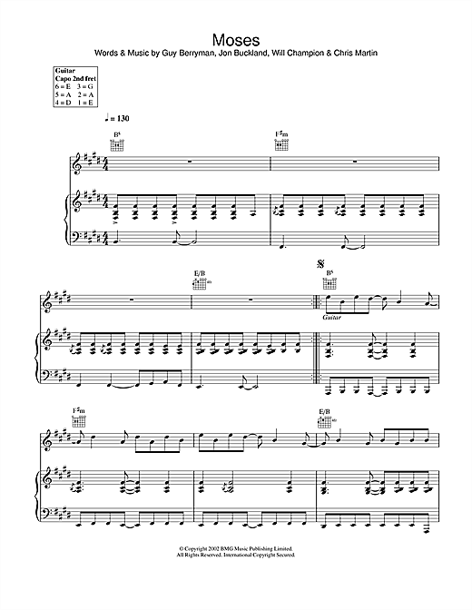 Coldplay Moses sheet music notes and chords