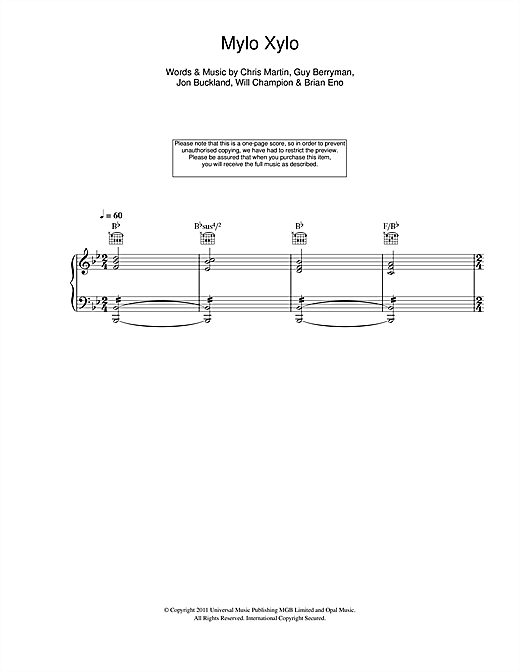 Coldplay Mylo Xyloto sheet music notes and chords. Download Printable PDF.