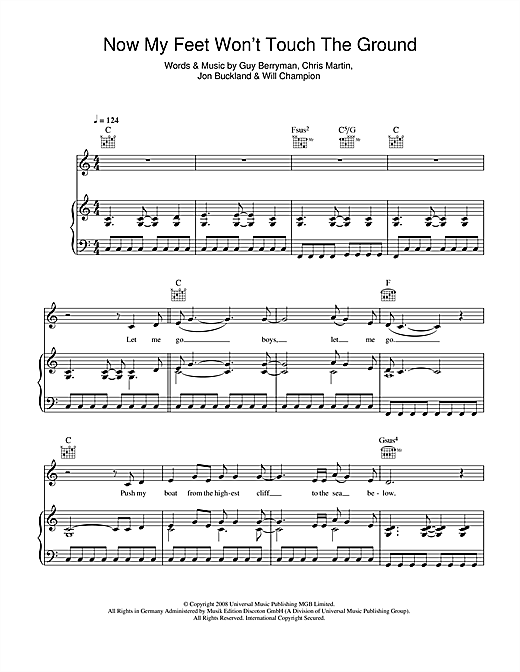 Coldplay Now My Feet Won't Touch The Ground sheet music notes and chords. Download Printable PDF.