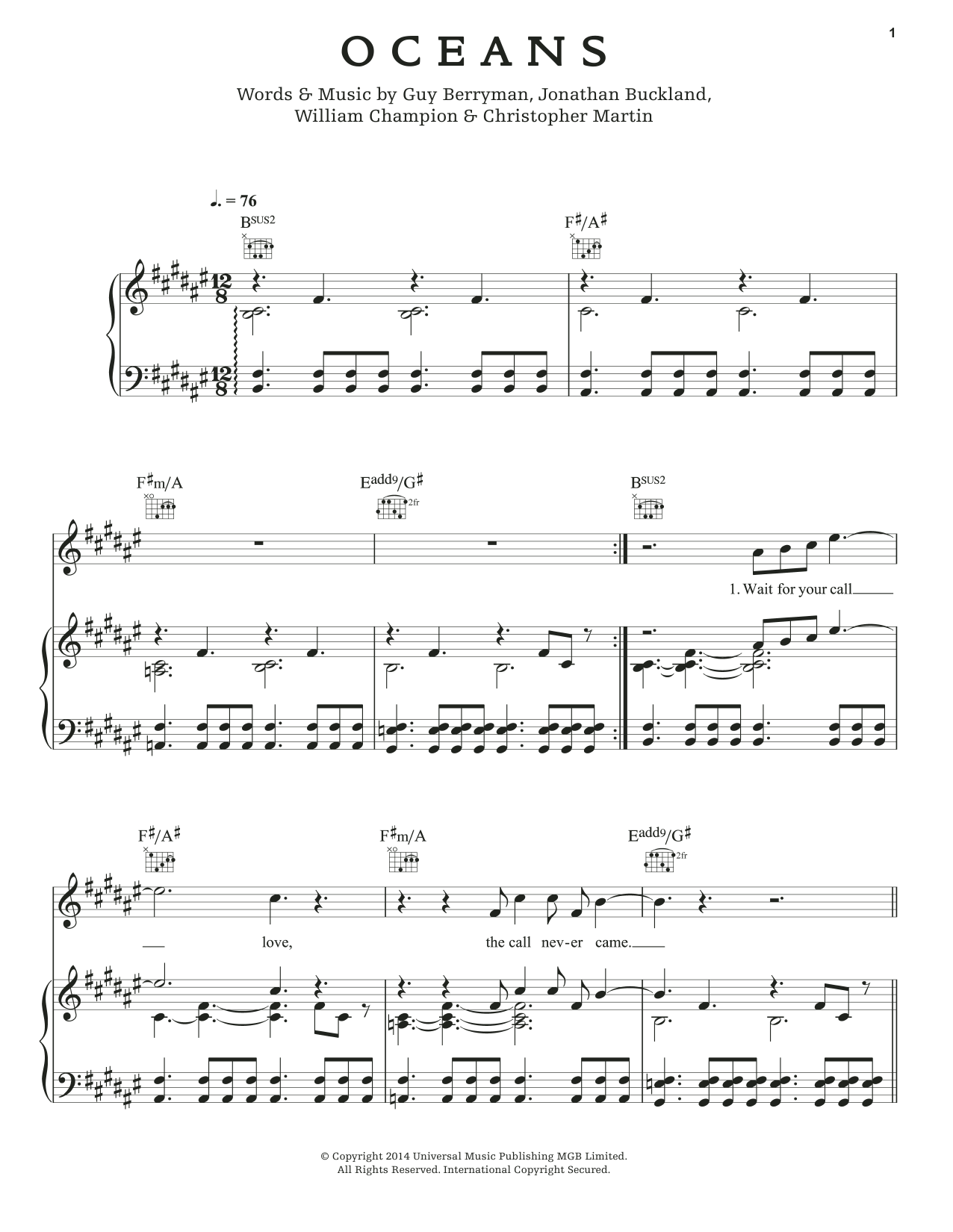 Coldplay Oceans sheet music notes and chords. Download Printable PDF.