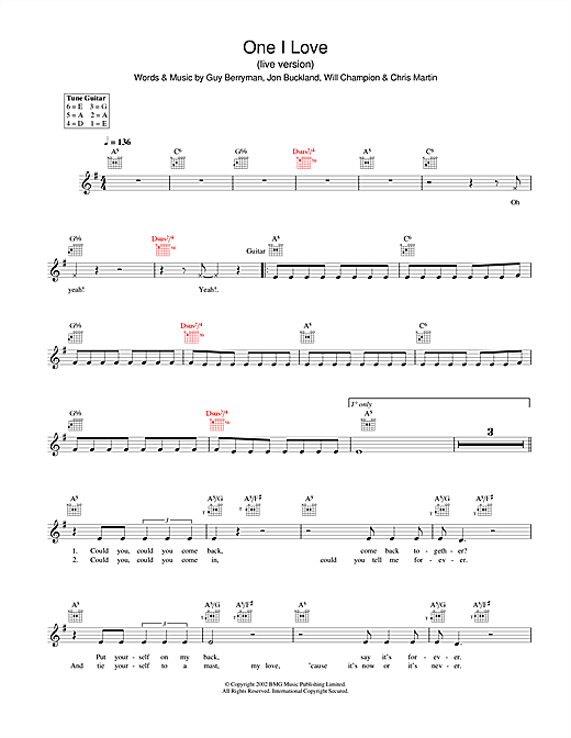 Coldplay One I Love sheet music notes and chords