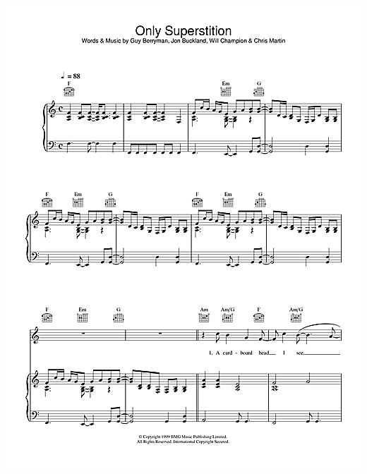Coldplay Only Superstition sheet music notes and chords