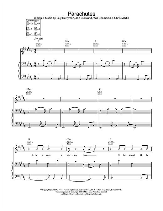 Coldplay Parachutes sheet music notes and chords