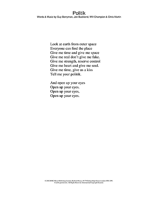 Coldplay Politik sheet music notes and chords. Download Printable PDF.