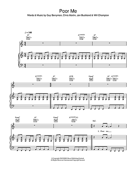 Coldplay Poor Me sheet music notes and chords