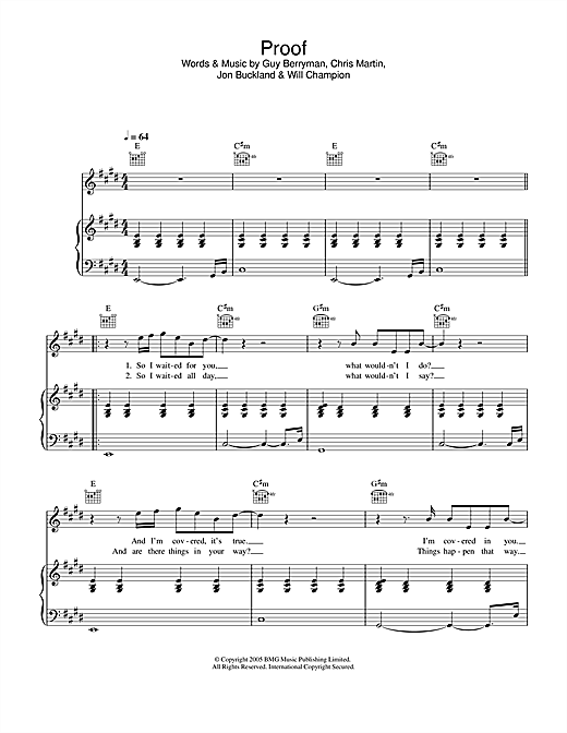 Coldplay Proof sheet music notes and chords
