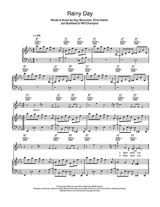 Coldplay Rainy Day sheet music notes and chords. Download Printable PDF.