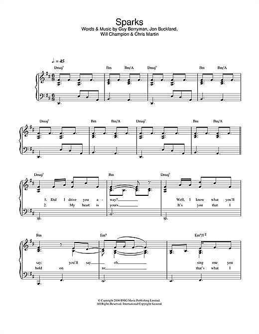 Coldplay Sparks sheet music notes and chords. Download Printable PDF.