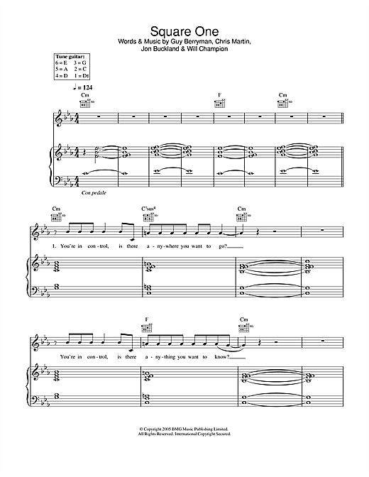 Coldplay Square One sheet music notes and chords. Download Printable PDF.