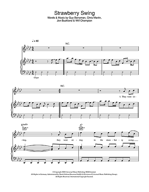 Coldplay Strawberry Swing Sheet Music Notes Chords Download Printable Piano Vocal Guitar Sku 43101