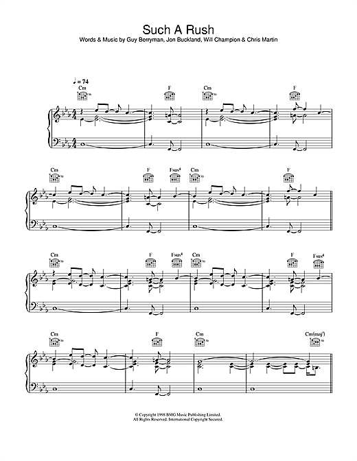 Coldplay Such A Rush sheet music notes and chords. Download Printable PDF.