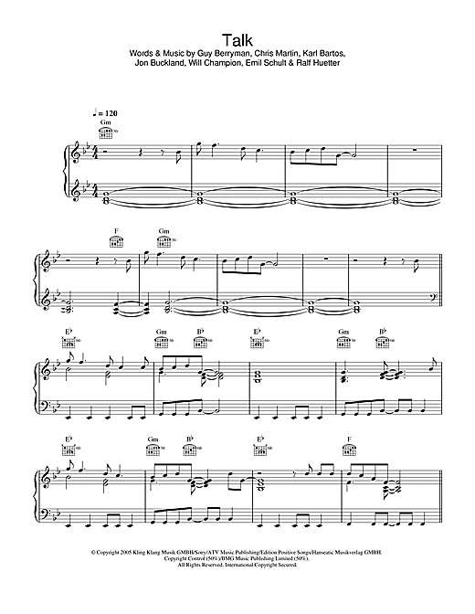 Coldplay Talk sheet music notes and chords