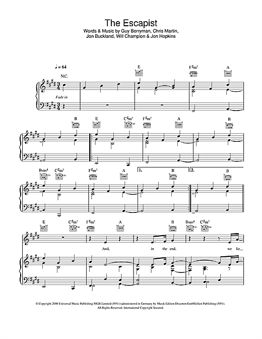 Coldplay The Escapist sheet music notes and chords