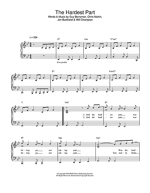 Coldplay The Hardest Part sheet music notes and chords. Download Printable PDF.